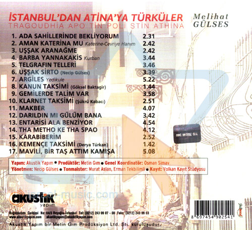 Istanbul'dan Atina'ya Turkuler by Melihat Gulses