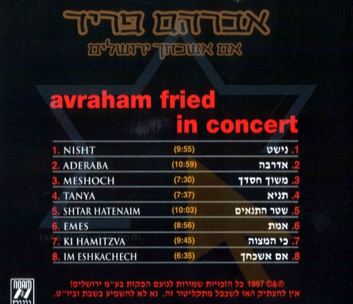 In Concert by Avraham Fried