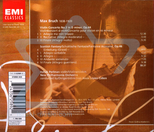 The Perlman Edition: Bruch Violin Concerto No. 2 & Scottish Fantasy by Itzhak Perlman