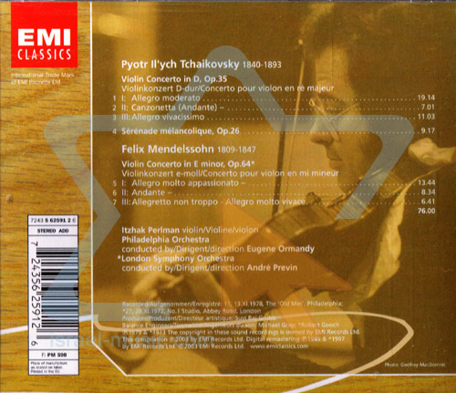 The Perlman Edition: Tchaikovsky & Mendelssohn Violin Concertos by Itzhak Perlman