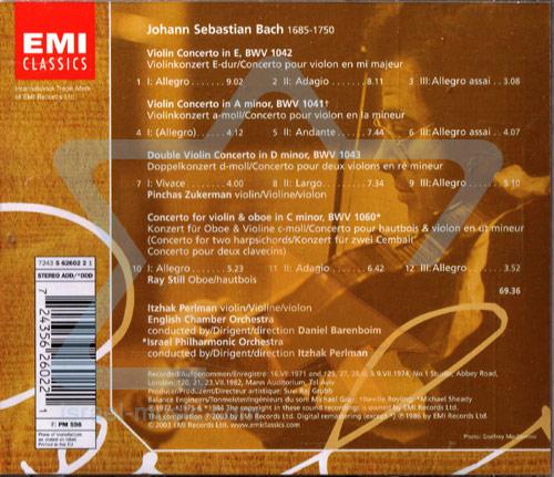The Perlman Edition: Bach Violin Concertos by Itzhak Perlman