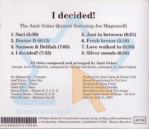 I Decided! by The Amit Golan Quintet