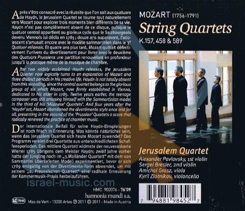 Mozart - String Quartet k.157, 458 & 589 by Jerusalem Quartet