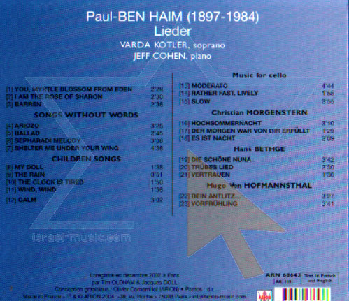 Paul Ben Haim - Melodies Par Varda Kotler