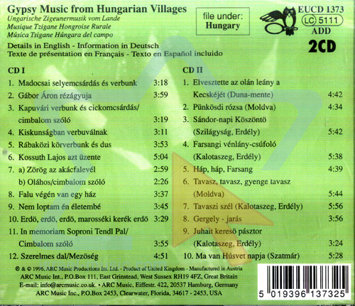 Gipsy Music from Hungarian Villages Par Kalman Balogh and Meta