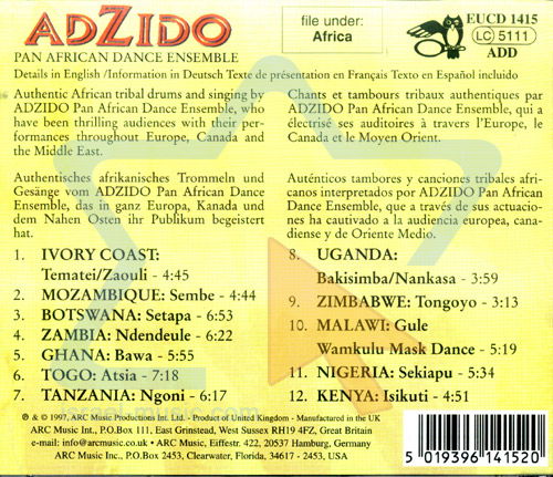 Traditional Songs and Dances from Africa by Adzido