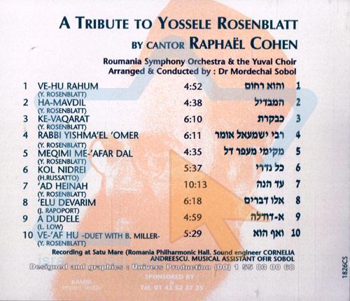 A Tribute To Yossele Rosenblatt by Cantor Raphael Cohen